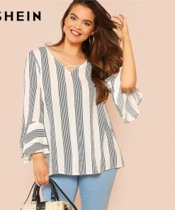 SHEIN Black and White Striped Criss Cross Front Flounce آستین Casual Summer Top Womens Tops and Blouses Plus سایز Blouse