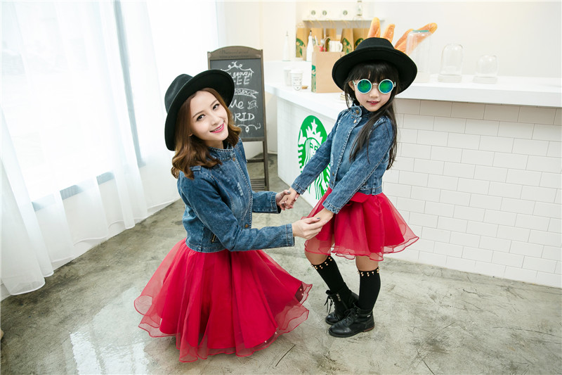 Mother Daughter Dresses Tutu Skirt Two Pieces Denim Coat Jacket  +Sleeveless Dress Family Matching Outfit Mommy and Me Clothes 3