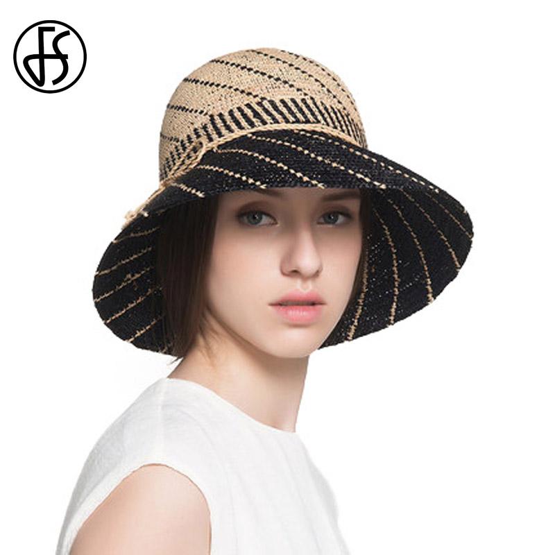 FS Nature Raffia Straw Hats For Women Summer Wide Brim Beach Visors Cap Female Sun Hat Basin Caps Sombreros