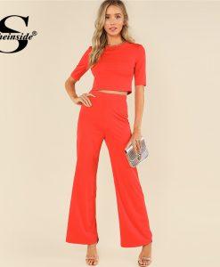Sheinside Orange Crop Top & Wide Leg Pants Two Piece Set Plain Round Neck Short Sleeve Elegant Twopiece Women Summer 2 Piece