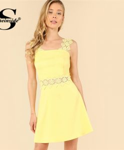 Sheinside Yellow Lace Straps Fit and Flare Dress Plain Sleeveless High Waist  A Line Party Dress Ladies Summer Party Mini Dress