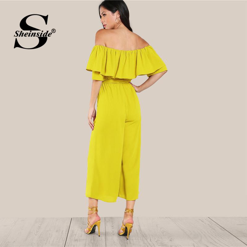 Sheinside Ruffle Off Shoulder Wide Leg Beach Jumpsuit Self Tie Belted High Waist Jumpsuit Women Summer Yellow Elegant Jumpsuit  1