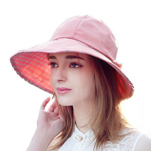 FS Summer Beach Hat For Women 2017 Wide Brim Face Protect Foldable Sun Hats  Casual Fishing  Viseras Mujer Ala Ancha 1