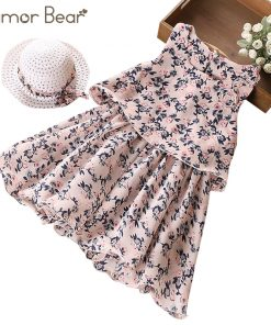 Humor Bear 2018 Fashion Children Girls Flowers Printed Soft Sleeveles Broken Flower Beach Dress + Hat Children Clothing