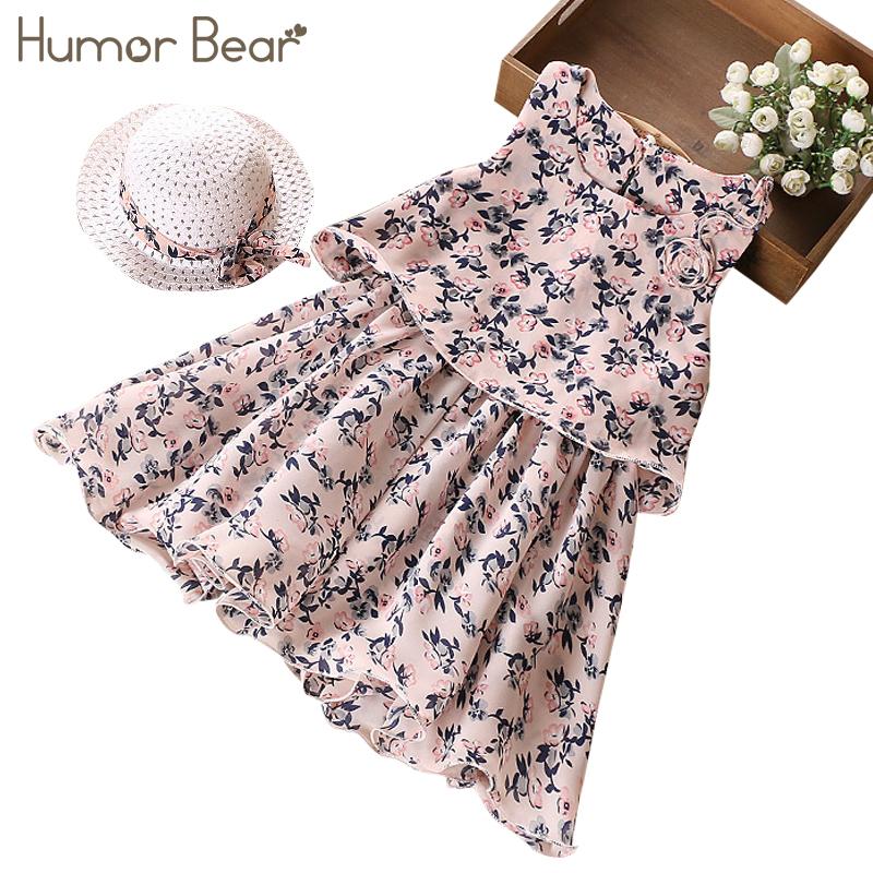 Humor Bear 2018 Fashion Children Girls Flowers Printed Soft Sleeveles Broken Flower Beach Dress + Hat Children Clothing
