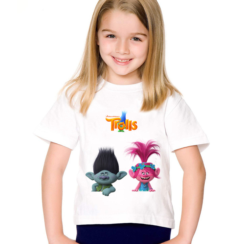 Cartoon Print Trolls Poppy and Branch Children Funny T-shirts Kids Cute Summer Tees Boys/Girls Casual Tops Baby Clothing,HKP5133 1