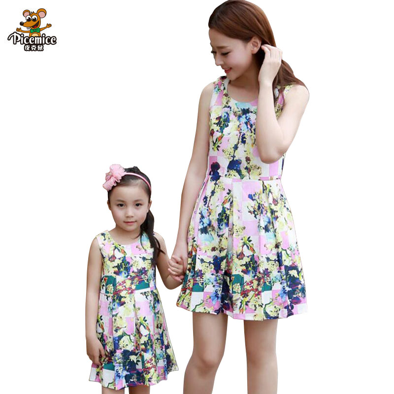 1pc Mother Daughter Dresses Family Clothing Summer Mom Girl Fashion Short Floral Family Look matching mother daughter clothes