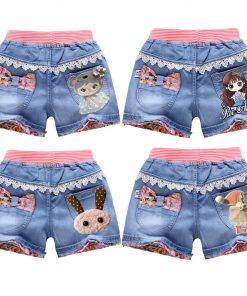 V-TREE Lace Girls Denim Shorts Summer Cartoon Printed Jeans For Teen Girl Kids Sequin Short Pants Beach Children Clothes