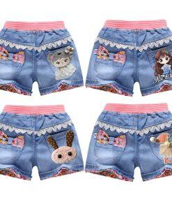 V-TREE Lace Girls Denim Shorts Summer Cartoon Printed Jeans For Teen Girl Kids Sequin Short Pants Beach Children Clothes