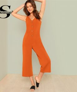 Sheinside Button Front Pocket Side Jumpsuit 2018 Summer V neck Sleeveless Jumpsuit Women Orange Mid دور کمر Straight Leg Jumpsuit