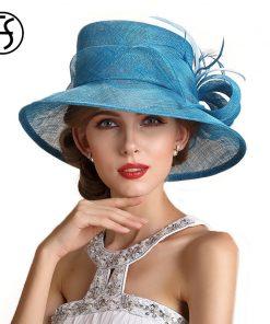 FS Summer Sky Blue Wedding Hats For Women Elegant Floral Linen Kentucky Derby Wide Brim Party Hat Chapeau Mariage