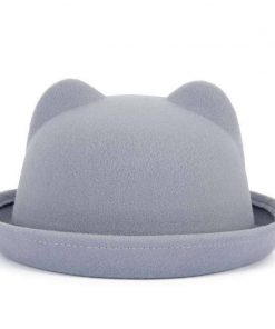 FS 13 Colors Autumn Winter Women Felt Fedora Hats With Ears Bowler Hat Trilby Quality Polyester Round Caps Casual Fedoras 1