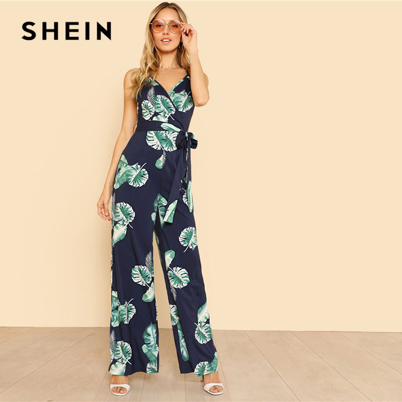 SHEIN Tropical Print Wide Leg Cami Jumpsuit 2018 Women V Neck Spaghetti Strap Sleeveless High دور کمر Belted Vacation Jumpsuit 1