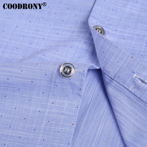 COODRONY Pure Cotton Casual Shirt Men Brand Clothing 2017 Summer New Arrival Solid Color Short Sleeve Slim Fit Shirt Homme S7702 5