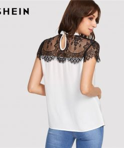 SHEIN Lace Yoke Keyhole Back Top Women Patchwork Stand Collar Short آستین Button Casual Blouse 2018 Summer Elegant Blouse 1