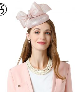 FS Fascinator Hat For Wedding Pink Pillbox Hat With Bowknot Summer Fedora For Women Hair Accessories Linen Church Cocktail Hats