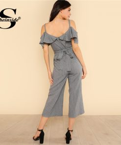 Sheinside Cold Shoulder Ruffle Trim Wide Leg Striped Jumpsuit Summer V neck Spaghetti Strap Jumpsuit Women Grey Elegant Jumpsuit 1