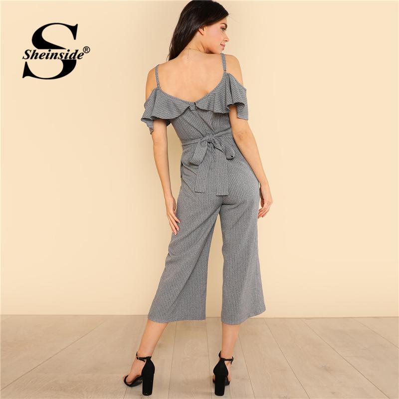 Sheinside Cold Shoulder Ruffle Trim Wide Leg Striped Jumpsuit Summer V neck Spaghetti Strap Jumpsuit Women Grey Elegant Jumpsuit 1