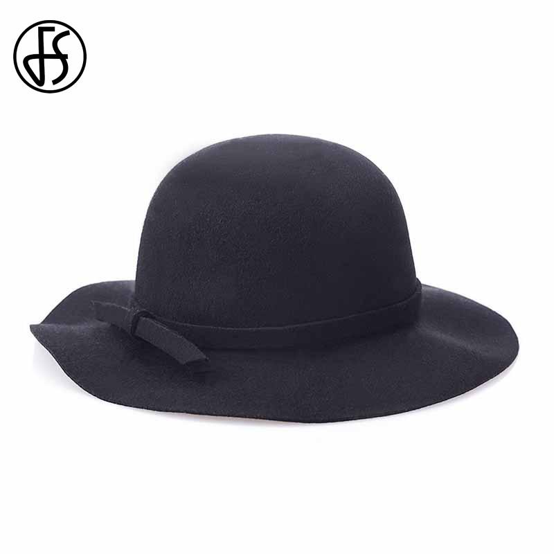 FS New Gray Wool Felt Fedoras Panama Hat Black Wide Brim Bowler Hats For Women Red Classic England Style Cloche Chapeau