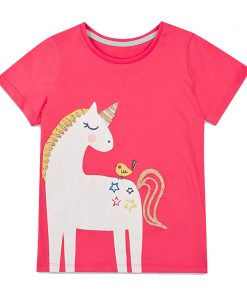 Baby Girls T-shirt Kids Clothes 2018 Brand Children Cartoon T shirts for Girls Costumes Unicorn Summer Girls Tops & Tees