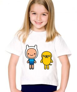 Cartoon Print Finn And Jake Children Funny T-shirts Kids Adventure Time Summer Tees Boys/Girls Casual Tops Baby Clothing,HKP5020