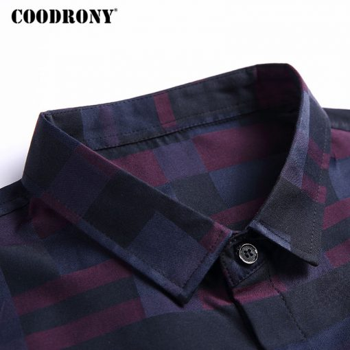 COODRONY Men Shirt Mens Business Casual Shirts 2017 New Arrival Men Famous Brand Clothing Plaid Long Sleeve Camisa Masculina 712 4