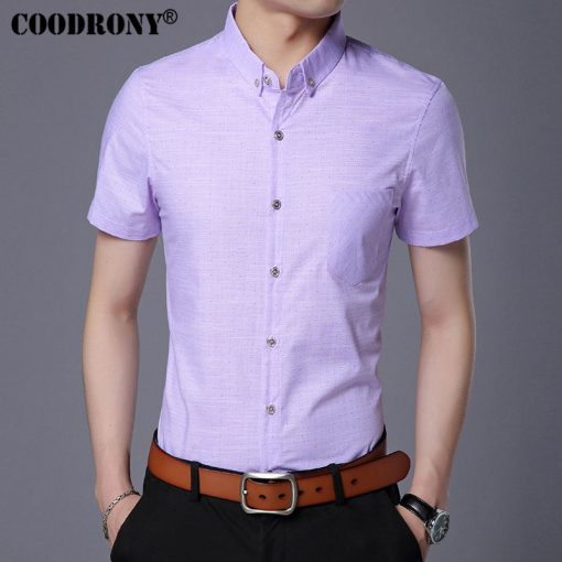 COODRONY Pure Cotton Casual Shirt Men Brand Clothing 2017 Summer New Arrival Solid Color Short Sleeve Slim Fit Shirt Homme S7702 3