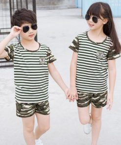Family Clothing Striped Shirt Camouflage Shorts Family Matching Outfits Cotton Father Son mother daughter Clothes Family Look 1