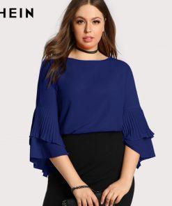 SHEIN Blue Plus سایز Women Blouse Fashion Navy Blue Casual Elegant Female Blouses Spring Autumn Three Quarter Length آستین Tops