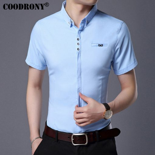 COODRONY 2017 Spring Summer New Business Casual Short Sleeve Shirt With Pocket Pure Cotton Shirt Men Slim Fit Chemise Male S7709 2