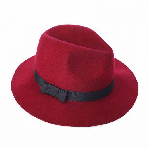 FS Women Red Jazz Caps Wide Brim Wool Felt Fedora Panama Hat Black Elegant Bowknot Cap Fashion Casual Chapeau Womens Hats 3