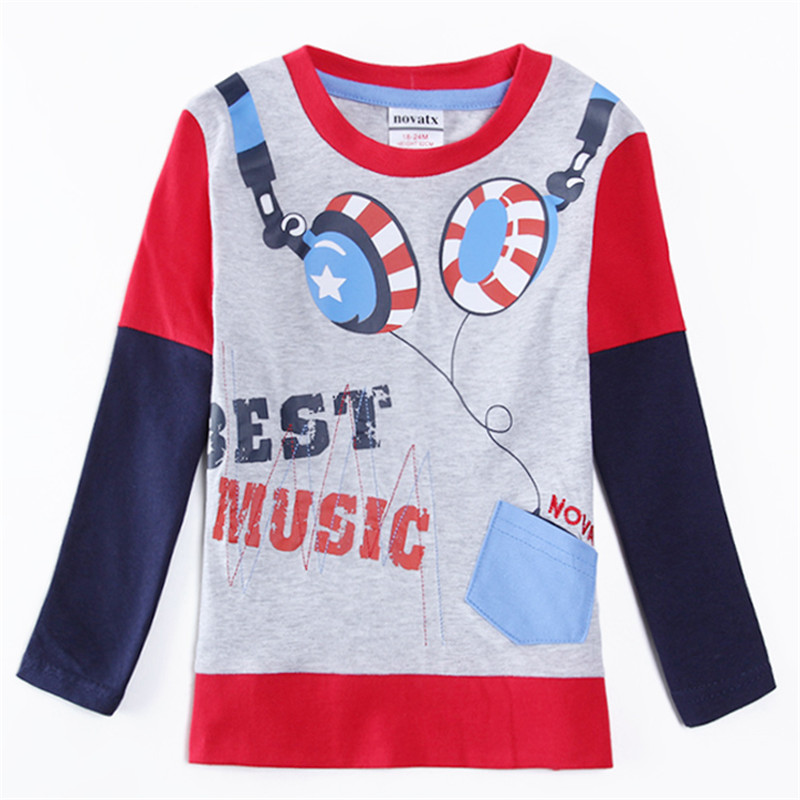 novatx A5650y Retail  baby boys long sleeves t-shirt for baby boys clothes boys shirts plaid casual t-shirt  2016 hot sale