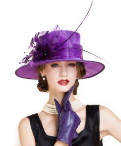 FS Elegant Ladies Red Wedding Hats And Fascinators Summer Linen Church Fedora Feather Flower Women Wide Brim Kentucky Derby Hat 1