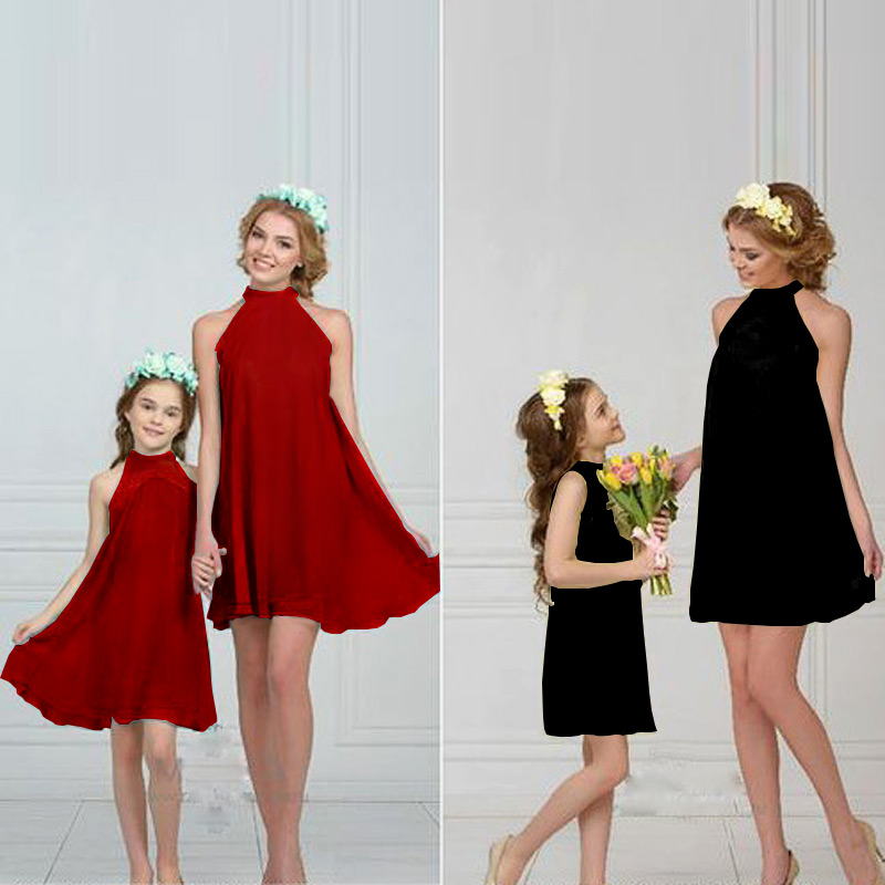 mother and daughter clothes 2018 new style Solid color fashion family look family matching clothes mom and daughter summer dress