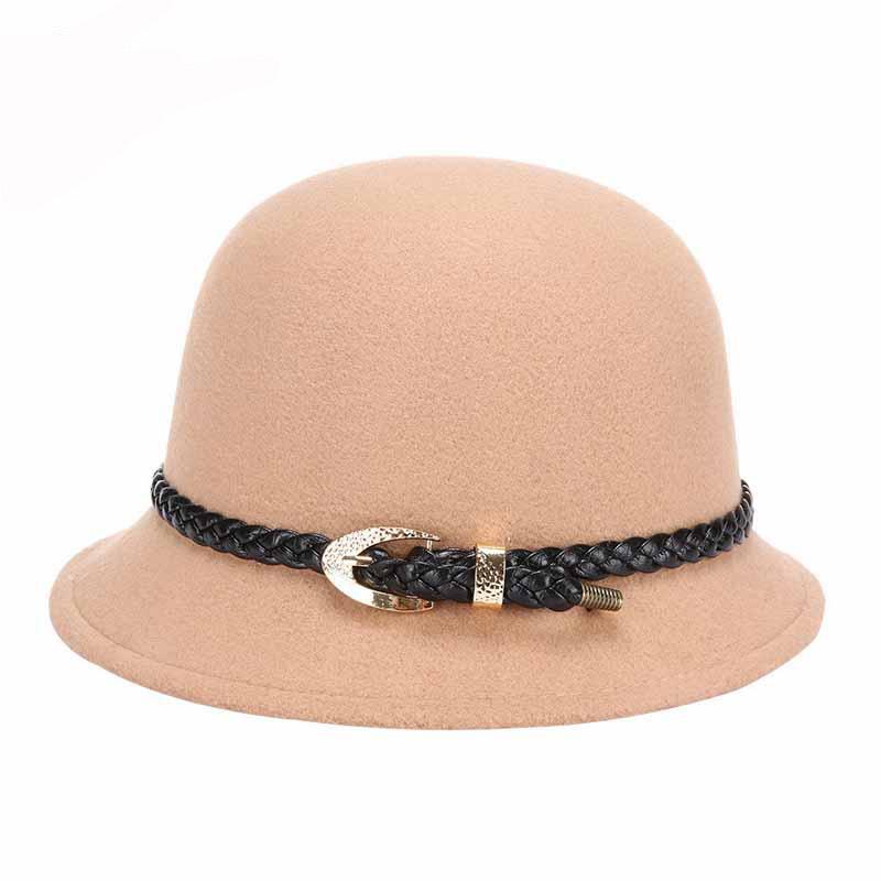FS Elegant Women Autumn Winter Wool Felt Fedoras Hat Wide Brim Bowler Caps Keep Warm Fashion Belt Lady Cloche Hats 1