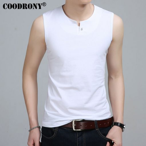 COODRONY Slim Fit Tank Top Men Sleeveless T Shirt Men 2017 Spring Summer New Arrival Cotton T-Shirts Button Henry Collar T S7652 1