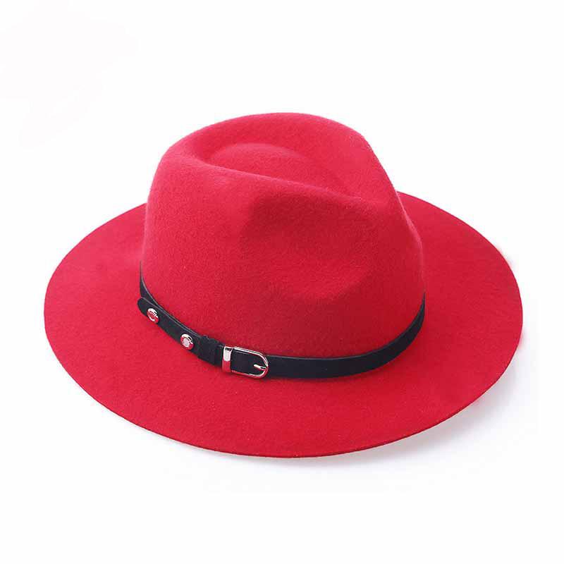 FS New Red Wool Felt Fedoras Panama Hat Black Metal Buckle Belt Jazz Cap For Women Classic England Style Ladies Caps 1