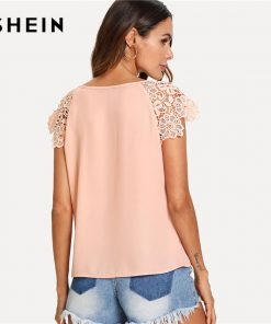 SHEIN Floral Lace Cap آستین Pleated Top Pink Scoop Neck Short آستین Women Plain Blouse 2018 Summer Weekend Casual Blouse 1