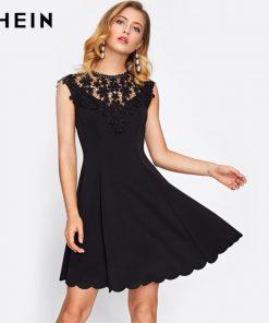 SHEIN Guipure Lace Yoke Scallop Hem Flare Dress Black Sleeveless Round Neck Elegant A Line Dress Sexy Woman Dresses