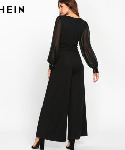 SHEIN Black Sexy Jumpsuits for Women Sheer Bishop آستین With Bleading Surplice Wrap Palazzo Mid دور کمر Jumpsuit 1