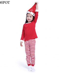 COSPOT Baby Girls Boys Christmas Pajamas Set Kids Red Striped Cotton PJS Children Clothing Set Children Nightwear Set 2018 30C