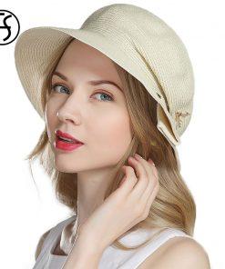 FS Straw Hats For Women Summer Fashion Beach Caps Sun Visors Hat Lady Foldable Cappello Di Paglia Donna Wide Birm Floppy Sunhat