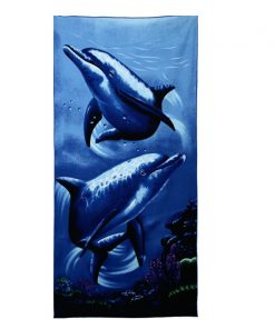 GIANTEX Dolphin Print Super Absorbent Bath Beach Towels Soft Microfiber Towels Drying Washcloth Swimwear Shower 70x150cm U1154 1
