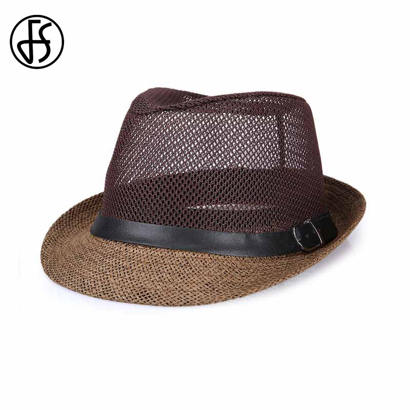 FS Men Summer Casual Beach Linen Hats Gray Black Brown Panama Straw Male Trilby Fashion Sun Visor Breathability Caps
