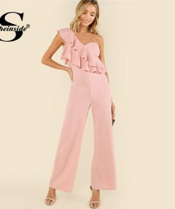 Sheinside Pink Ruffle Tiered One Shoulder Jumpsuit Plain High Waist Office Ladies Workwear Women Summer Elegant Jumpsuit