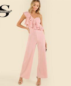 Sheinside Pink Ruffle Tiered One Shoulder Jumpsuit Plain High Waist Office Ladies Workwear Women Summer Elegant Jumpsuit