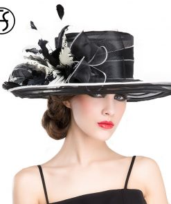 FS Royal Wedding Hats For Woman Black Large Wide Brim Church Fedora Hat British Bowkot Feather Ladies Kentucky Derby Hats Summer