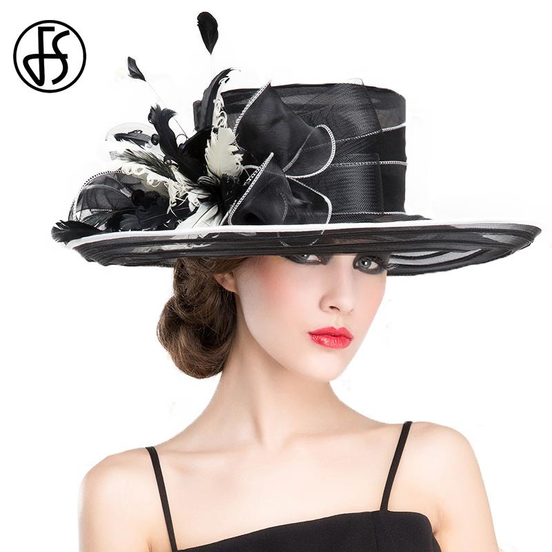 FS Royal Wedding Hats For Woman Black Large Wide Brim Church Fedora Hat British Bowkot Feather Ladies Kentucky Derby Hats Summer