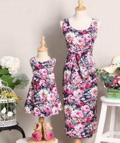 Mummy and Me Mother Daughter Dress Mama Baby Set Sisters Matching Clothes Flower Mom Mother and Daughter Sleeveless Dress Skirt 1