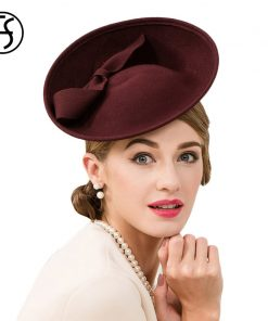 FS 100% Wool Women Cocktail Hats Fascinator Wine Red Pillbox Hat Ladies For Wedding Bow British Church Derby Fedora Chapeau 1